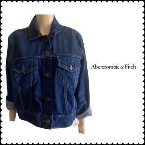 Abercrombie& Fitch Denim Dark Wash Crop Jacket